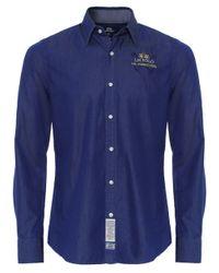 La Martina | Blue Slim Fit Bi-colour Twill Shirt for Men | Lyst