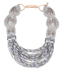 Butterfly | Gray Multi Strand Collar Necklace | Lyst