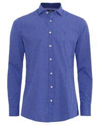 Hackett | Blue Slim Fit Gingham Heather Shirt for Men | Lyst