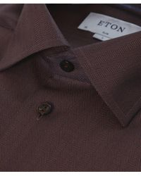 Eton of Sweden | Brown Slim Fit Herringbone Cambridge Twill Shirt for Men | Lyst