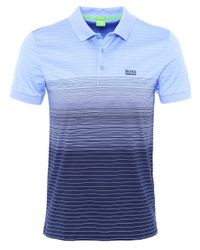 BOSS Green | Blue Regular Fit Striped Paddy 3 Polo Shirt for Men | Lyst