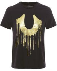 True Religion | Black Crew Neck Metallic Drippy T-shirt for Men | Lyst