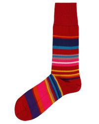 Paul Smith | Red Striped Spag Socks for Men | Lyst