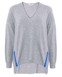Cocoa Cashmere | Gray Cashmere Zip Detail Jumper | Lyst