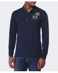 La Martina - Blue Guards Long Sleeve Polo Shirt for Men - Lyst