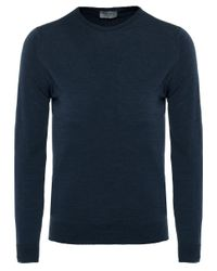 John Smedley - Blue Standard Fit Merino Wool Crew Neck Lundy Jumper for Men - Lyst