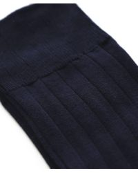 John Smedley - Blue Ribbed Delta Socks for Men - Lyst