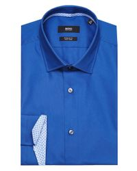 4f0b9cb6 Lyst - BOSS Regular Fit Gelson Shirt in Blue for Men