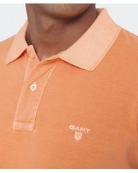 Gant | Orange Sun Bleached Polo Shirt for Men | Lyst