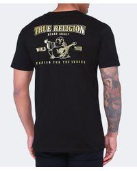 True Religion | Black Metallic Gold Buddha Puff T-shirt for Men | Lyst