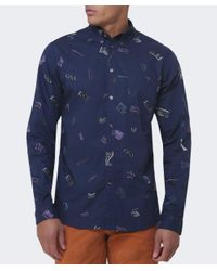 Paul Smith - Blue Printed Poplin Tailored Fit Shirt for Men - Lyst