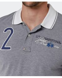 La Martina | Gray Contrast Collar Logo Polo Shirt for Men | Lyst