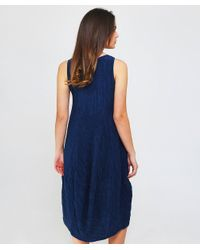 Grizas - Blue Silk Crinkle Effect Midi Dress - Lyst