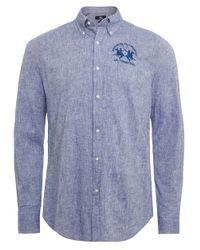 La Martina - Blue Slim Fit Linen Blend Raf Shirt for Men - Lyst