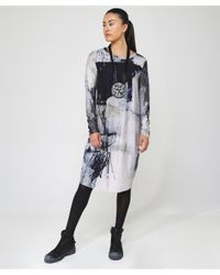 Crea Concept - White Abstract Print Jersey Midi Dress - Lyst