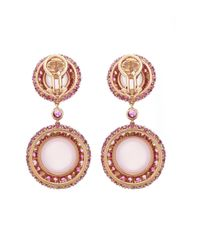 Sidney Garber - Pink Sapphire And Rose Quartz Cabochon Earrings - Lyst