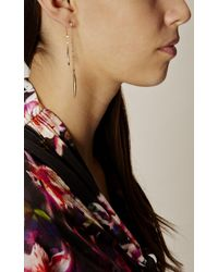 Karen Millen - Metallic Flow Drop Crystal Earrings - Gold Colour - Lyst