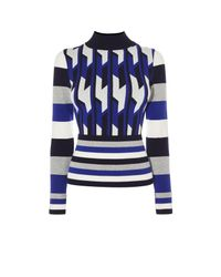Karen Millen | Multicolor Blue Geo Knit Jumper - Multicolour | Lyst