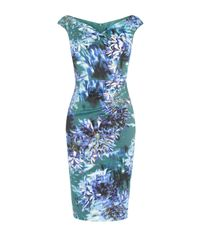 Karen Millen   Blue Floral Print V-neck Dress - Multicolour   Lyst