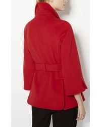 Karen Millen - Cape Wool Coat - Red - Lyst
