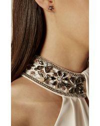 Karen Millen | Metallic Petite Geo Flower Stud Earring - Silver Colour | Lyst