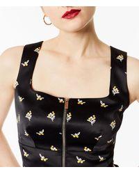 Karen Millen - Black Sprig Satin Top - Lyst