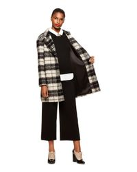 Kate Spade - Black Woodland Check Bow Coat - Lyst