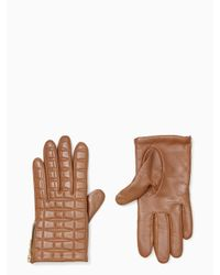 kate spade new york | Brown Bow Quilted Gloves With Side Zipper | Lyst