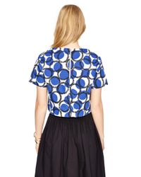 kate spade new york | Blue Stamped Dots Crop Top | Lyst