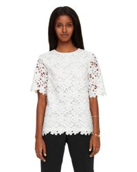 kate spade new york | White Floral Lace Short Sleeve Top | Lyst