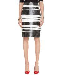 kate spade new york | Black Sequin Cape Stripe Pencil Skirt | Lyst