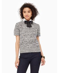kate spade new york | Gray Bow Collared Sweater | Lyst