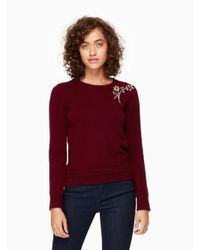 kate spade new york | Red Embellished Brooch Sweater | Lyst
