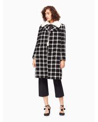 Kate Spade | Black Faux Fur Collar Tweed Coat | Lyst