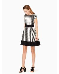 kate spade new york | Black Ponte Stripe Fiorella Dress | Lyst