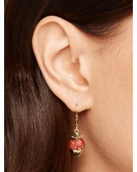 kate spade new york - Red Outside The Box Strawberry Drop Earrings - Lyst