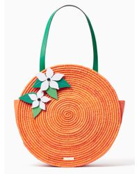 kate spade new york | Multicolor Spice Things Up Straw Orange Tote | Lyst