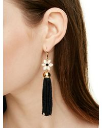 kate spade new york - Black Lovely Lilies Tassel Earrings - Lyst