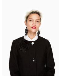 Kate Spade - Black Tweed Corsage Coat - Lyst