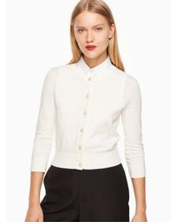 Kate Spade - White Jewel Button Cropped Cardigan - Lyst