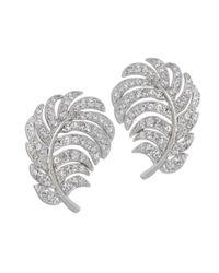 Kenneth Jay Lane   Metallic Crystal Feather Clip Earring   Lyst