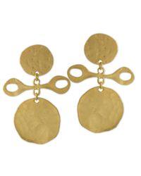 Kenneth Jay Lane   Metallic Satin Gold Clip Earring   Lyst