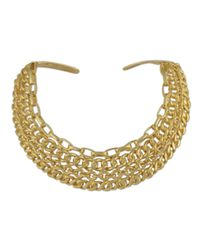 Kenneth Jay Lane   Metallic Polished Gold Collar Necklace   Lyst