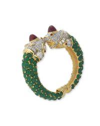 Kenneth Jay Lane | Green Emerald Lion Head Cuff | Lyst