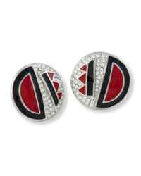 Kenneth Jay Lane | Red And Black Art Deco Clip Earring | Lyst