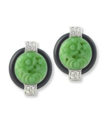 Kenneth Jay Lane   Green Black And Jade Art Deco Clip Earring   Lyst