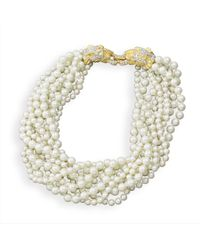 Kenneth Jay Lane | White Pearl Lion Head Necklace 18"