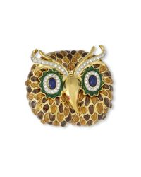Kenneth Jay Lane | Metallic Brown Owl Brooch | Lyst
