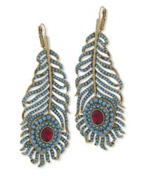 Kenneth Jay Lane | Multicolor Turquoise And Ruby Feather Eurowire Earrings | Lyst