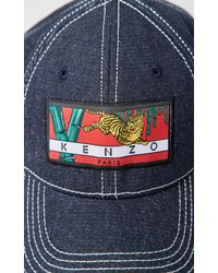 KENZO - Blue Denim 'bamboo Tiger' Baseball Cap - Lyst